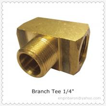 "Brass Branch Tee,1/4"",FNPT x FNPT x MNPT,1200 PSI,Free Express Shipping to US,Factory Direct,200pcs/lot,14.5KG"