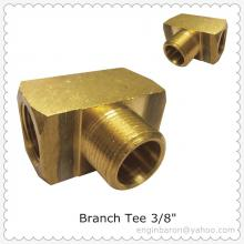 "Brass Branch Tee,3/8"",FNPT x FNPT x MNPT,1200 PSI,Factory Direct Sales,200pcs/lot,20KG"