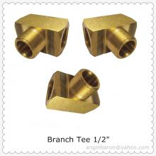 "Brass Branch Tee,1/2"",FNPT x FNPT x MNPT,1200 PSI,Free Shipping,200pcs/lot,36.3KG"